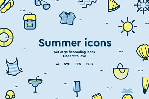Curvy summer icons