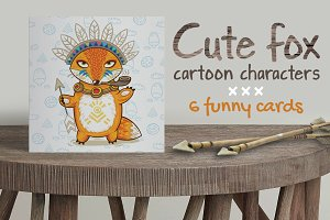 Cute fox cartoon characters