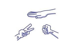 Paper, Scissors, Stone game illustration