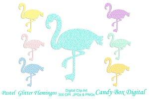 Pastel Glitter Flamingo Clip Art