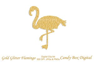 Gold Glitter Flamingo Clip Art