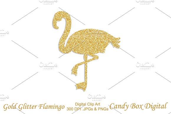 Gold Glitter Flamingo Clip Art