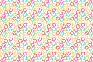 Hearts in Circles Vector Pattern