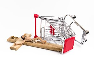 Shopping cart with crucifx