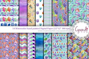 Watercolor mermaid digital paper