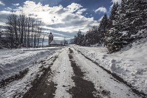 Winter road to the Church