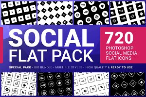 Social Media Icons FLAT PACK 720