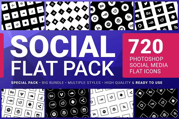 Social Media Icons FLAT PACK 720 in Icons