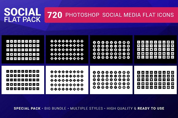 Social Media Icons FLAT PACK 720 in Icons - product preview 1