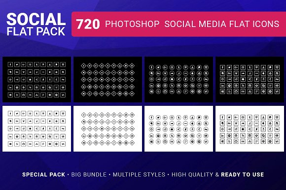 Social Media Icons FLAT PACK 720 in Icons - product preview 2