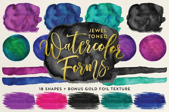 Jewel Tone Watercolor Forms Shapes