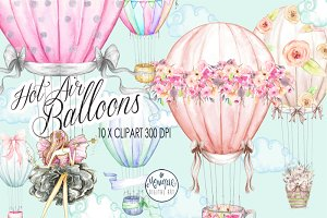 Hot Air Balloons Clipart Watercolor