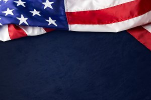 USA flag on blue background