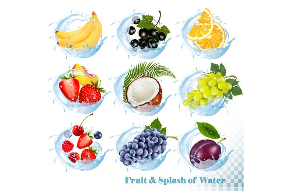 Set Of Fruit In A Water Splash Icons