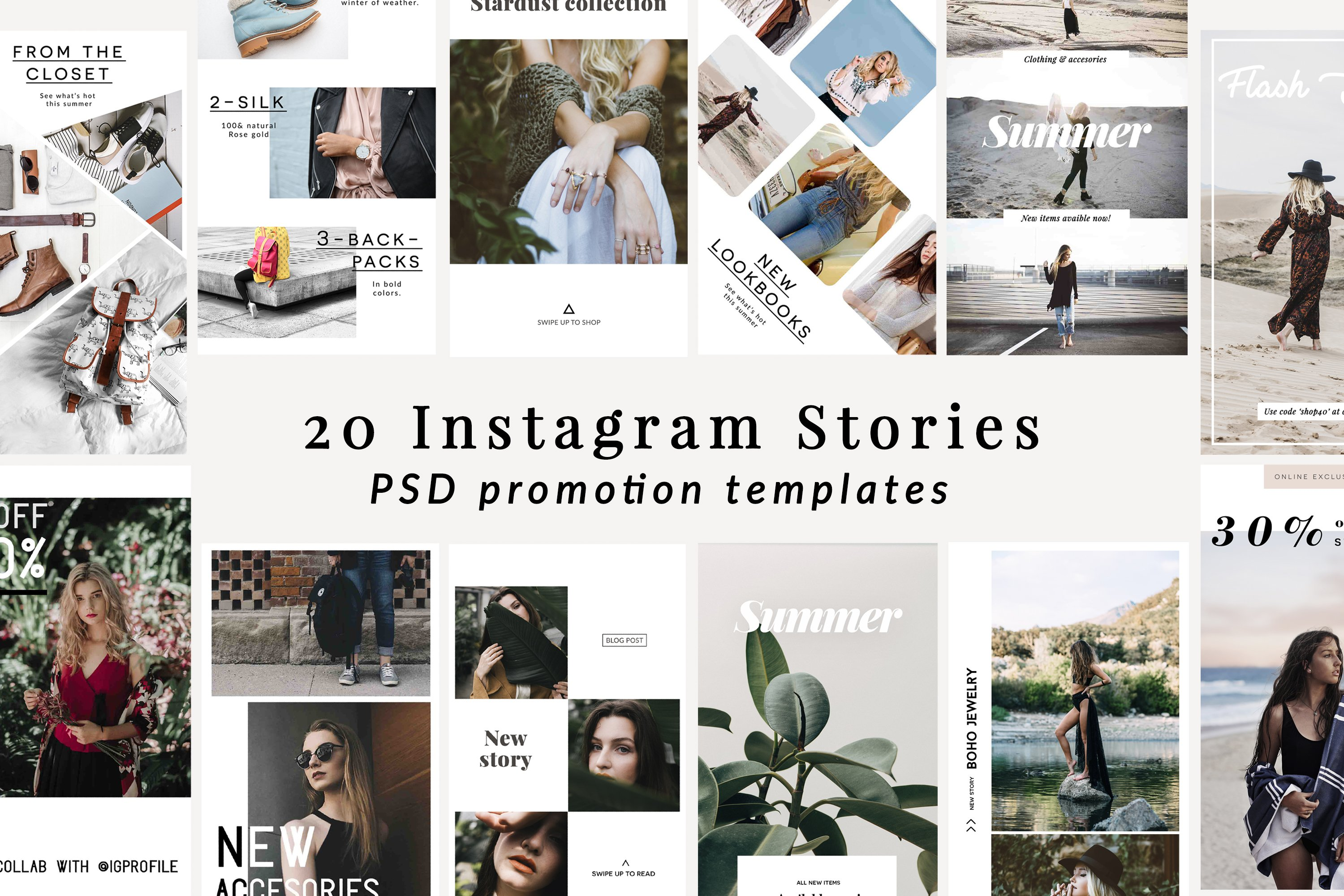 instagram stories template bundle instagram templates creative market. Black Bedroom Furniture Sets. Home Design Ideas