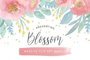 Watercolor Flower Clip Art Bundle