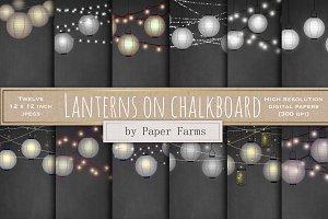 Lanterns on Chalkboard