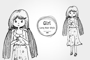 cute girl long hair hand drawn style