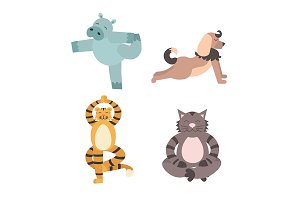 Fun Animals of Yoga Pose. Vector