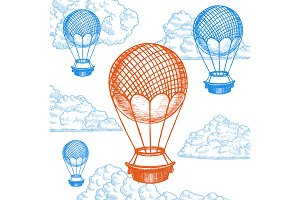 Fly Ballon on Sky Hand Draw Sketch.