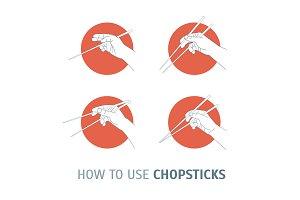 How Use Chopsticks. Oriental Cuisine
