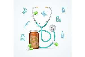 Pharmacy Concept Pills Stethoscope