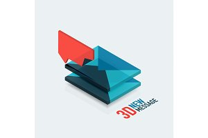 Flat new message concept, modern 3d isometric design