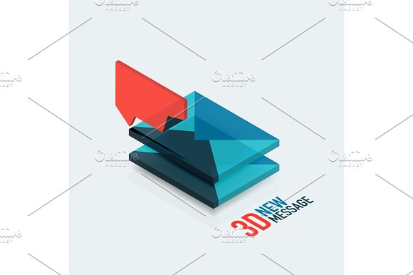 Flat New Message Concept Modern 3D Isometric Design