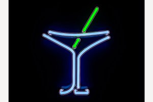 Neon cocktail city sign