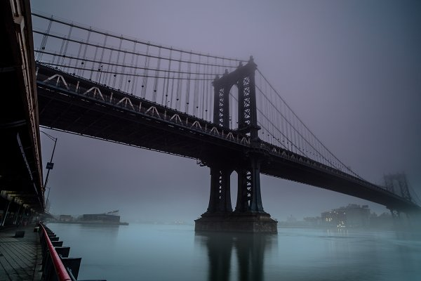 Industrial Stock Photos: MentlaStore - Manhattan bridge on a foggy morning