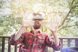 Man Using VR Headset In Park Mockup