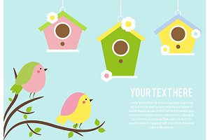 Cute birds, birdshouses. Background