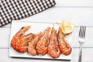 From above prawn dish. Spanish food.