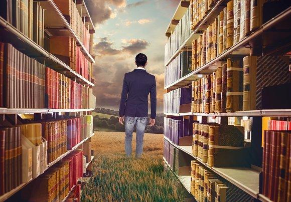 Man In Library Meadow Mockup