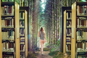 Student in Forest Library Mockup