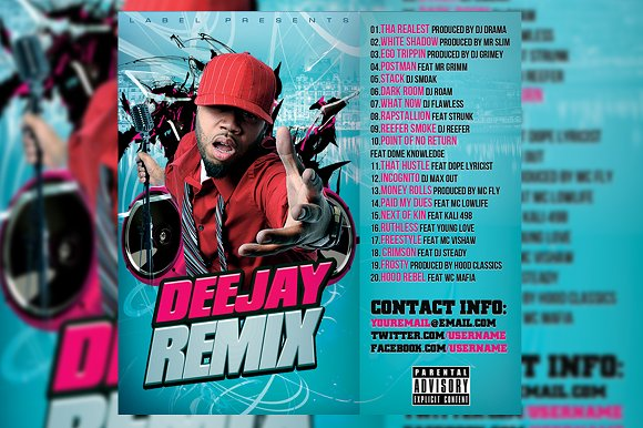 Deejay Remix CD Cover Template in Templates