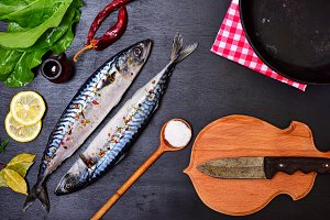 Fresh mackerel fish with spices