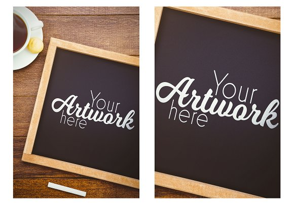 Chalkboard Mockup With Coffee