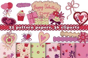 Valentines Day Pattern&Cliparts