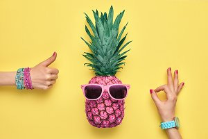 Fashion Hipster Pineapple. OK, YES Gesture.Minimal
