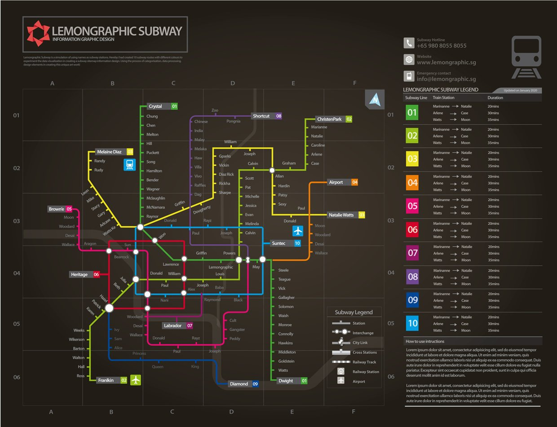 neon subway map information design illustrations