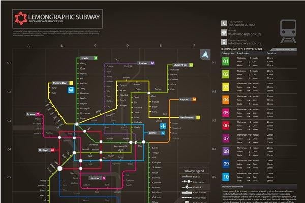 Neon subway map information design