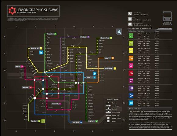 Subway Map Design.Neon Subway Map Information Design Illustrations Creative Market