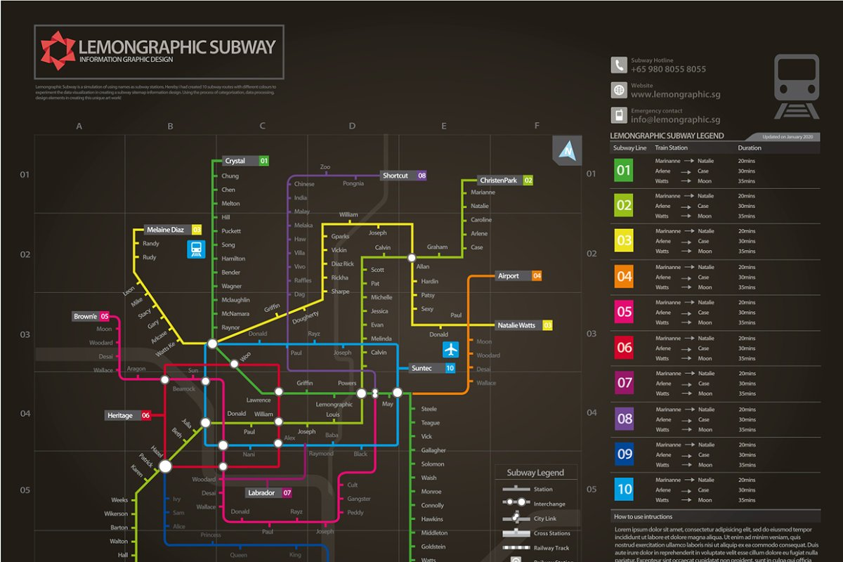 Creative Subway Map.Neon Subway Map Information Design Illustrations Creative Market