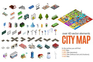 City Map Isometric Elements Set