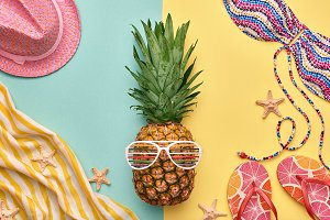 Fashion Bright Summer Color Outfit. Pineapple
