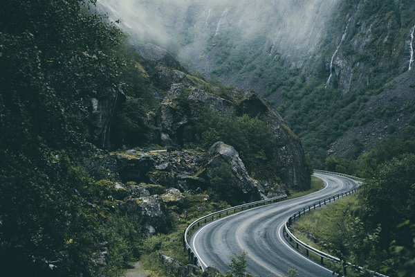 Winding Mountain Road in Norway