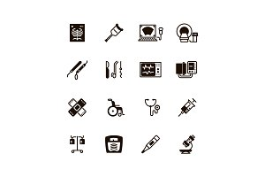 Medical devices and equipment vector icons