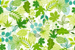 Patterns with green leaves.