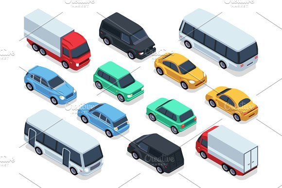 Isometric Vehicles And Cars For 3D City Traffic Map Vector Urban Transport Set